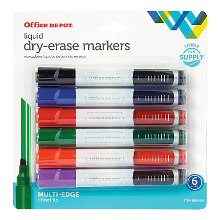 Office Depot® Brand Round Liquid Dry-Erase Markers, Chisel Tip, Clear Barrel, Assorted Ink Colors, Pack Of 6