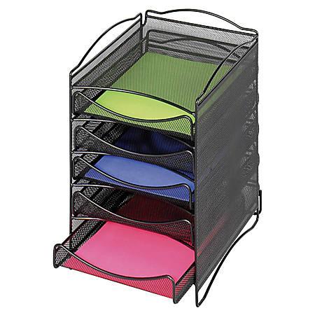 Safco® Onyx™ 5-Drawer Mesh Literature Organizer, Black