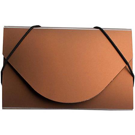 JAM Paper® Business Card Case With Elastic Closure, Copper Metallic