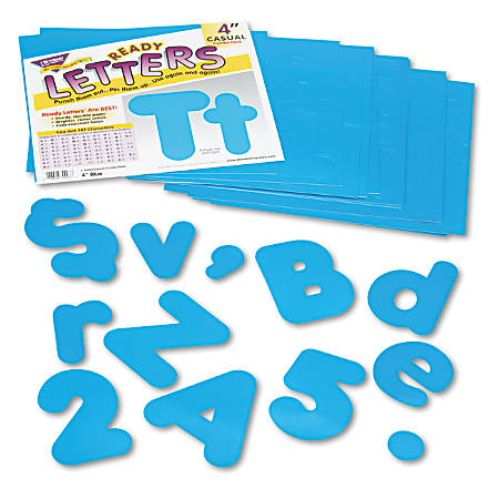 """Trend Blue 4"""" Casual Combo Ready Letters Set - Learning Theme/Subject - 50, 82, 29, 20 (Uppercase Letters, Lowercase Letters, Punctuation Marks, Numbers) Shape - Reusable, Fade Resistant - 4"""" Height - Blue - 1 Pack"""