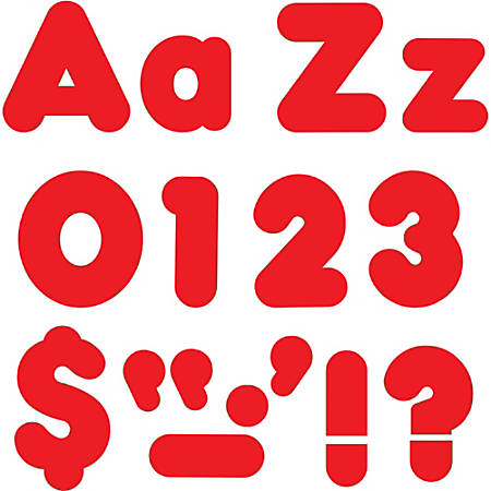 "Trend Red 4"" Casual Combo Ready Letters Set - 20, 82, 50, 29 (Number, Lowercase Letters, Uppercase Letters, Punctuation Marks) Shape - Fade Resistant, Reusable, Easy to Use, Durable - Red - 1 / Pack"