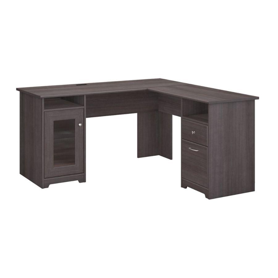 Bush Furniture Cabot L Shaped Desk Heather Gray Standard Delivery