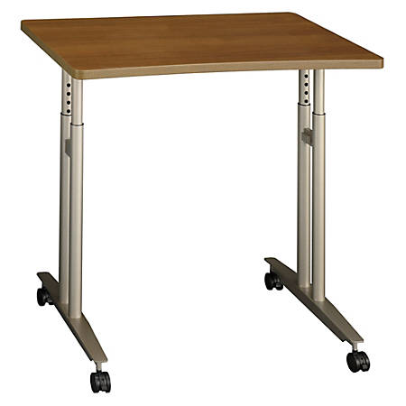 "Bush Business Furniture Components Collection 36"" Wide Adjustable Height Mobile Table, Warm Oak, Premium Installation"