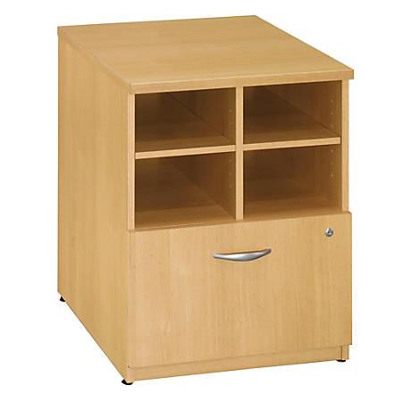 "Bush Business Furniture Components Storage Cabinet, 24""W, Light Oak/Light Oak, Premium Installation"