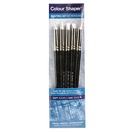 Colour Shaper Painting And Pastel Blending Tools, No. 6, Assorted Soft, Black, Set Of 5