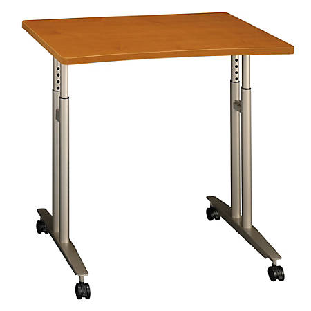 """Bush Business Furniture Components Collection 36"""" Wide Adjustable Height Mobile Table, Natural Cherry, Premium Installation"""