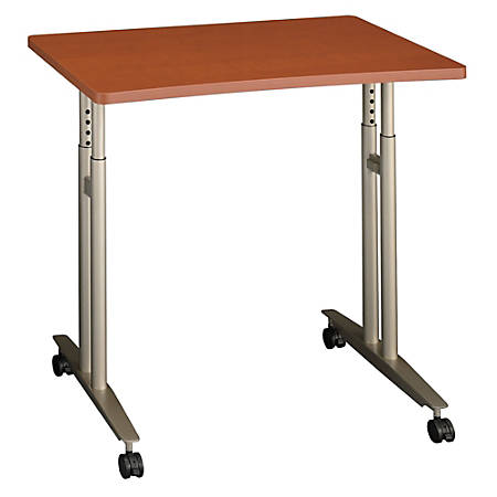 """Bush Business Furniture Components Collection 36"""" Wide Adjustable Height Mobile Table, Auburn Maple, Premium Installation"""