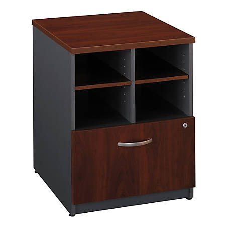 "Bush Business Furniture Components Storage Cabinet, 24""W, Hansen Cherry/Graphite Gray, Premium Installation"