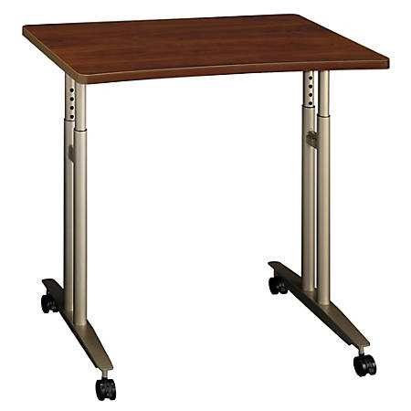 """Bush Business Furniture Components Collection 36"""" Wide Adjustable Height Mobile Table, Hansen Cherry, Premium Installation"""