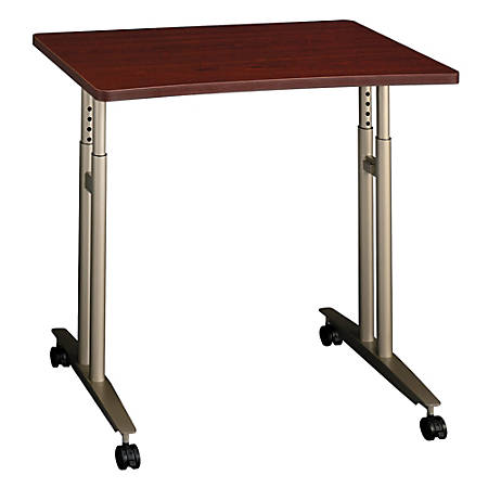 "Bush Business Furniture Components Collection 36"" Wide Adjustable Height Mobile Table, Mahogany, Premium Installation"