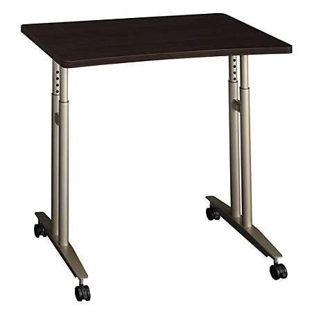 "Bush Business Furniture Components Adjustable Height Mobile Table, 36""W, Mocha Cherry, Premium Installation"