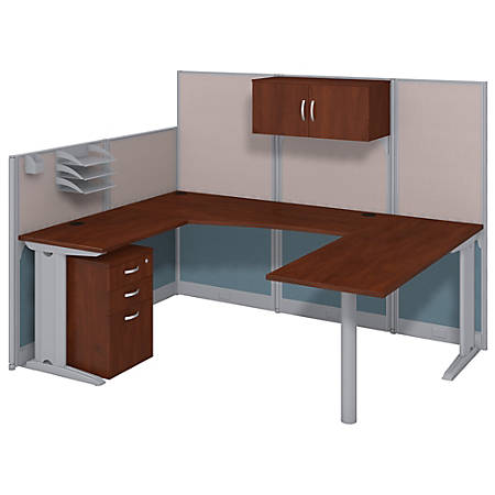 Bush Business Furniture Office In An Hour U Workstation with Storage & Accessory Kit, Hansen Cherry Finish, Premium Delivery