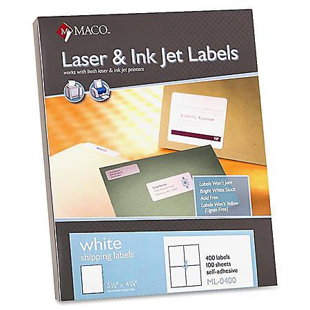 "MACO® White Laser/Ink Jet Shipping Labels, MML-0400, 5 1/2""W x 4 1/4""L, Rectangle, White, 4 Per Sheet, Box Of 400"