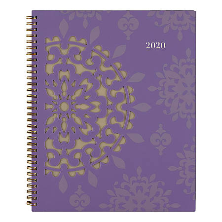 """Cambridge Vienna Medallion Weekly/Monthly Planner, 8-1/2"""" x 11"""", Purple, January to December 2020"""