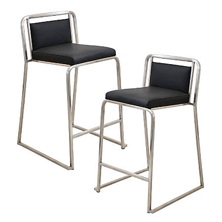 LumiSource Cascade Counter Stools, Black/Stainless Steel, Set Of 2