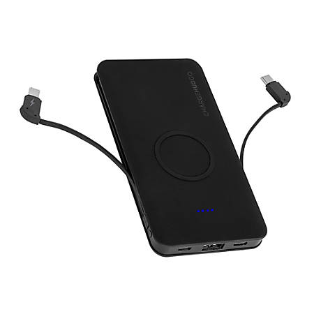 ChargeHub GO+ Powerbank With Wireless Charging Pad, Black, CRG-WPB-C-001