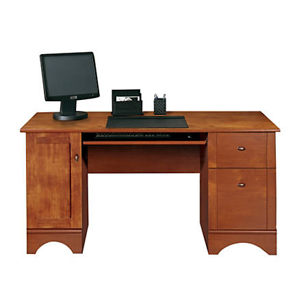 "Realspace® Dawson 60""W Computer Desk, Brushed Maple"