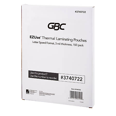 "GBC® EZUse™ Thermal Laminating Speed Pouches, 3 mils, 8 1/2"" x 11"", Clear, Pack Of 150, 3740722"