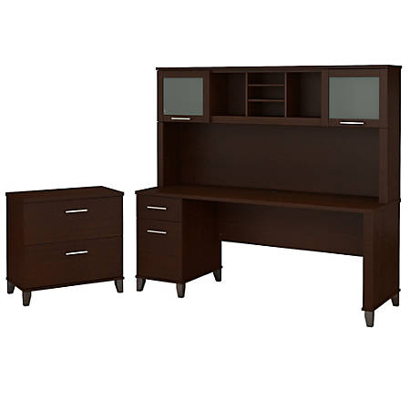 """Bush Furniture Somerset 72""""W Office Desk With Hutch And Lateral File Cabinet, Mocha Cherry, Standard Delivery"""