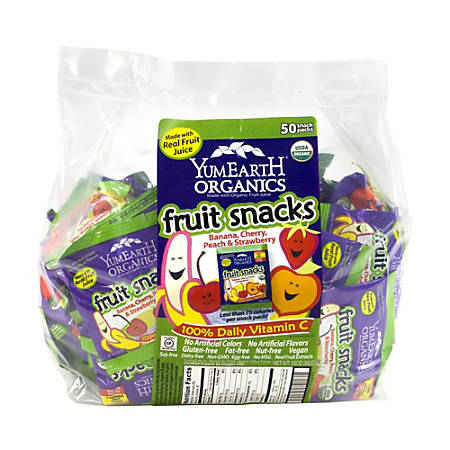 Yummy Earth Organic Fruit Snacks Snack Packs, Pack Of 50