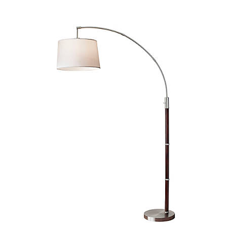 "Adesso® Alta Arc Lamp, 80 1/2""H, Off-White Shade/Steel Base"