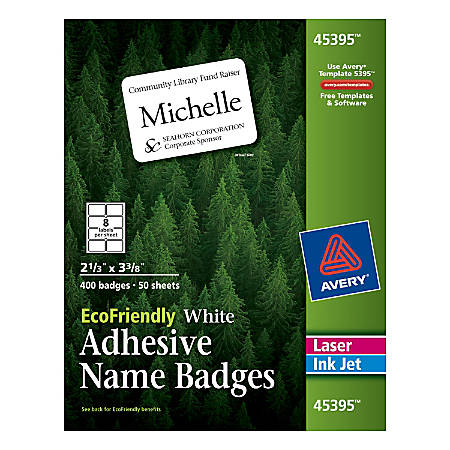 Avery EcoFriendly Percent Recycled Name Badges X White - 4x6 name badge template