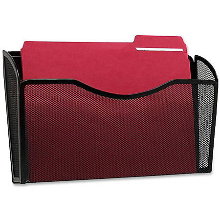 """Rolodex Mesh Letter Wall File - 1 Pocket(s) - 8.5"""" Height x 14"""" Width x 3.4"""" Depth - Wall Mountable - Black - Steel - 1Each"""