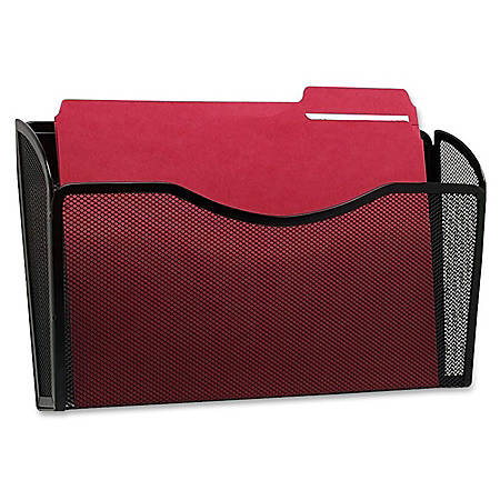"Rolodex Mesh Letter Wall File - 1 Pocket(s) - 8.5"" Height x 14"" Width x 3.4"" Depth - Wall Mountable - Black - Steel - 1Each"