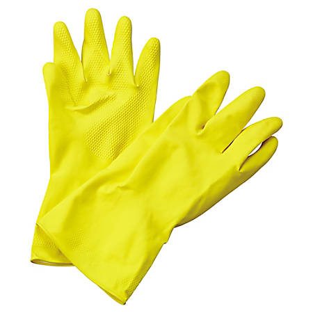Boardwalk Flock-Lined Latex Cleaning Gloves, X-Large, Yellow, Pack Of 12 Pairs