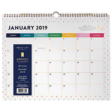 at a glance emily ley monthly wall calendar 14 78 x 11 78 happy dot