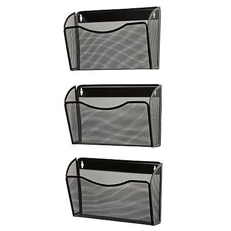 "Eldon Expressions Mesh 3-Pack Hanging Wall Files, 33 1/2""H x 14""W x 6 5/8""D, Black, Pack Of 3"