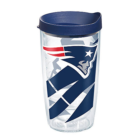 Tervis NFL Tumbler With Lid, 16 Oz, New England Patriots, Clear