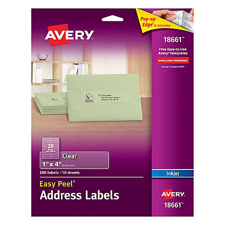 """Avery® Easy Peel® Permanent Address Labels, 18661, 1"""" x 4"""", Matte Clear, Pack of 200"""