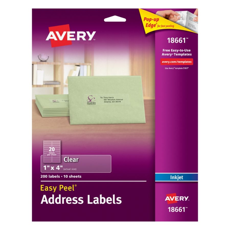 Avery Easy Peel Permanent Address Labels 18661 1 X 4 Matte Clear