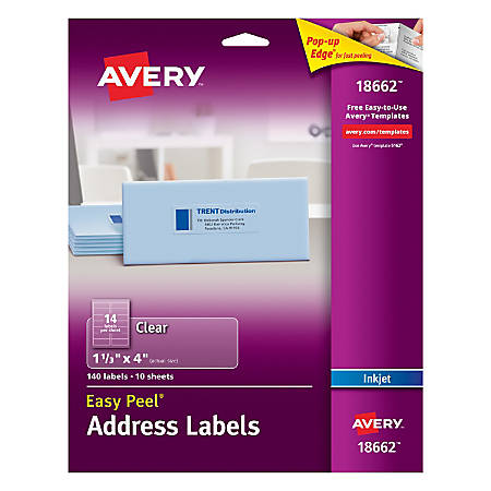 """Avery® Easy Peel® Permanent Address Labels, 18662, 1 1/3"""" x 4"""", Matte Clear, Box Of 140"""
