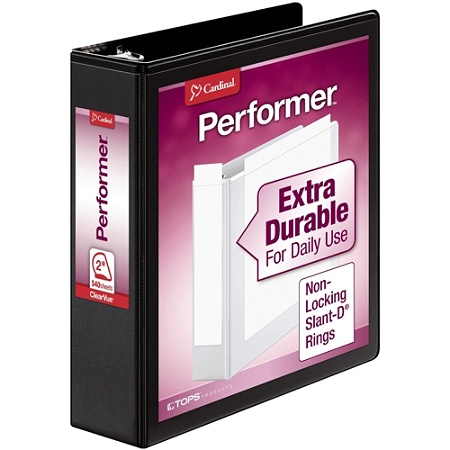 cardinal performer clearvue slant d ring binder 2 rings letter size
