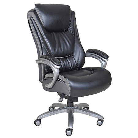 Serta® Big & Tall Smart Layers™ Blissfully Bonded Leather High-Back Chair, Black/Gray