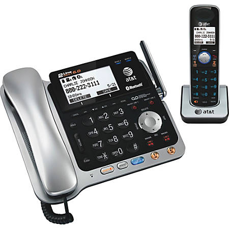 bf3d67eaef17 AT&T TL86109 DECT 6.0 Digital 2-Line Corded/Cordless Phone With Digital  Answering System