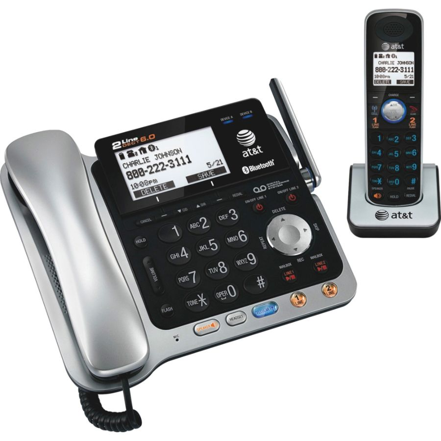 at t tl86109 dect 6 0 digital 2 line cordedcordless phone with rh officedepot com Walmart Android Phone AT&T Walmart Android Phone AT&T