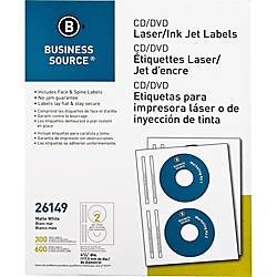 Business Source LaserInkjet CDDVD Labels Permanent