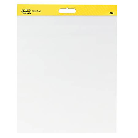 Post it super sticky wall pad 20 x 23 plain white paper 20 self