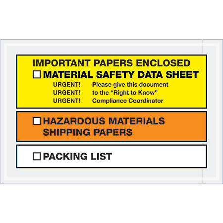 "Tape Logic® Preprinted Packing List Envelopes, MSDS, Important Paper Enclosed, 6 1/2"" x 10"", Orange/Yellow, Case Of 1,000"