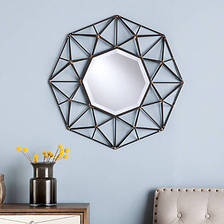"Southern Enterprises Normandy Octagonal Decorative Wall Mirror, 26 1/4""""H x 26 1/4""W x 4 1/4""D, Black/Gold"