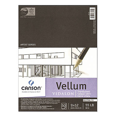 "Canson Vidalon Tracing Vellum Pad, 9"" x 12"", Pack Of 50 Sheets"