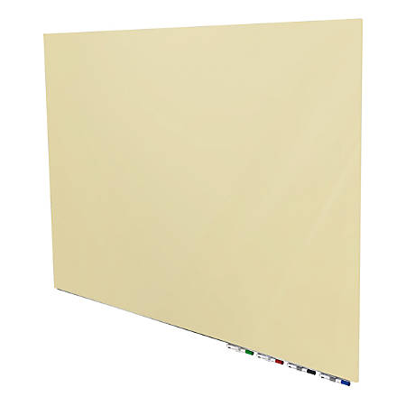 """Aria 3'H x 4'W Magnetic Low Profile 1/4"""" Glassboard, Horizontal, Beige, 4 Rare Earth Magnets, 4 Markers & Eraser"""