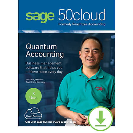 Sage 50cloud Quantum Accounting 2019 U.S. 3-User One Year Subscription