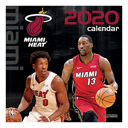 """Turner Licensing Monthly Wall Calendar, 12"""" x 12"""", Miami Heat, 2020"""