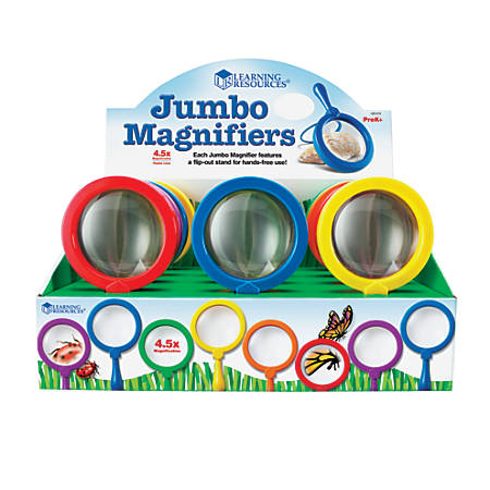 Learning Resources® Jumbo Magnifiers, 4.5x, Assorted Colors, Pack Of 12