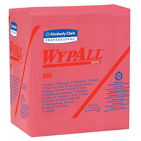 """Wypall X80 Wipers, 1/4 Fold, Hydroknit, 12 1/2"""" x 12"""", Red, Pack of 50"""
