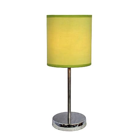 "Simple Designs Mini Basic Table Lamp, 11 7/8""H, Green Shade/Chrome Base"